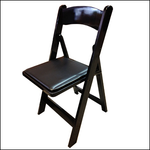 black wooden folding chair